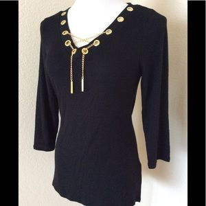 Belldini black tunic top embellished with gold new